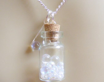 Bubbles and Wand Necklace, Bubble Necklace, Wish Bottle, Bubble Blower Necklace, Miniature Bottle, Mini Bottle Necklace, Bottle Pendant
