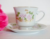 White, Gold, Pink Tea Cup and Saucer, Pink Flower with Green Leaves Tea Cup and Saucer