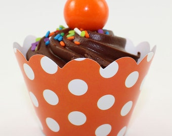 12 Orange Polka Dot Cupcake Wrappers