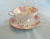 Vintage China Cup and Saucer, RKR Bavarian, West Germany, Pink and Gold