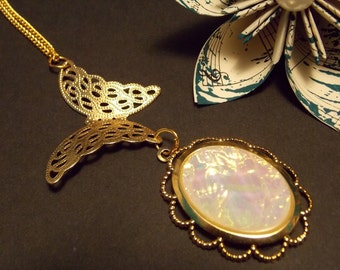 Gold Butterfly Opal Necklace
