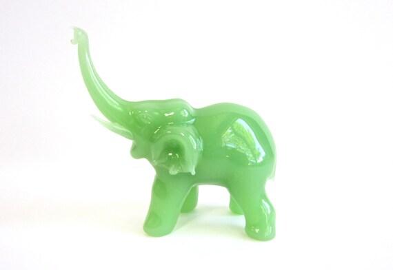 Elephant Figurine Jade Green Glass Elephant Figurine