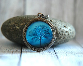 """1"""" Round Glass Pendant Necklace or Key Chain - Tree with Mist"""