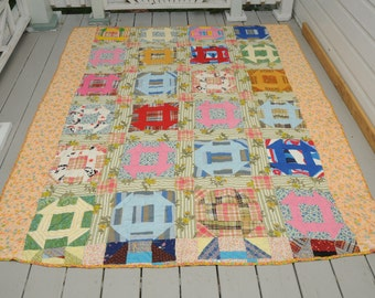 Vintage Handmade Quilt Handmade Geometric Squares 1950s