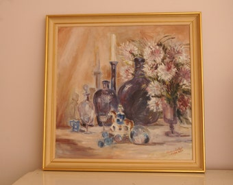 Vintage Oil Painting Signed Still Life Floral Purple Lavender Amherst