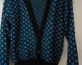 80s Mod Style Vintage Cardigan Sweater by Street Closed Size Medium