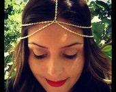 Thin Headchain, Double Strand Head Chain, Boho hair, Coachella headband, hipster,  hippy, Gold or Silver Adj Headchain