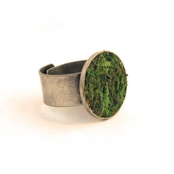 Modern Moss Ring, Eco Friendly, Terrarium Jewelry, Terrarium Ring, Terrarium, Green Ring, Living Plant Jewelry, Gardner Naturalist