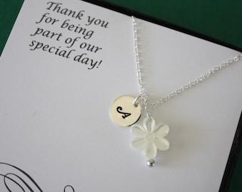2 Jr. Bridesmaid Necklaces, Junior Bridesmaid, Thank You card, Teen Necklace, Pearl Necklace, Initial Necklace, Junior Bridesmaid