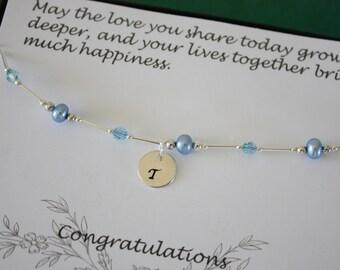 Something Blue Anklet, Bride Gift, Blue Pearl Anklet, Initial Charm Anklet, Pearl & Initial Sterling Silver Adjustable Anklet