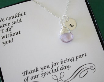 10 Bridesmaid Gift Initial Necklace, Personlized Jewelry, Bridal Party, Gemstone and Initial, Gift Set, Sterling Silver, Wedding