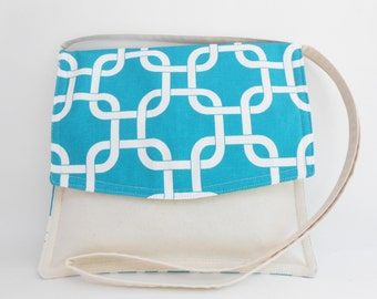 Medium Shoulder Crossover Bag  Radiant Turquoise Cream Canvas