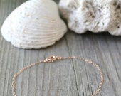 14k Rose Gold Filled tiny custom stamped initial bracelet, personalized monogram disc, pink gold, letter A B C D E F G H I J K L M N O P...