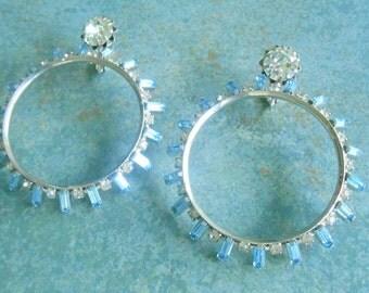 Vintage Runway Earrings Clip Blue Rhinestone Baguettes Huge