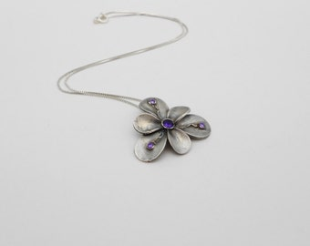 Fine Silver Flower Necklace with Amethyst, Flower Pendant, Metal Clay Flower, Silver Metal Clay Necklace, One of a Kind