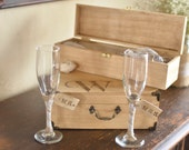 Wedding Cake Knife Set and Toasting Glasses by Burlap and Linen Co