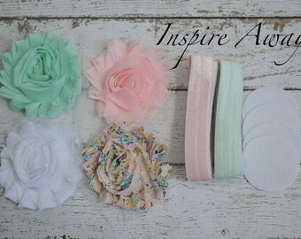 Baby Headband Kit #8 , DIY baby headbands, shabby flowers, foe elastic, baby hair bow making kit for baby shower