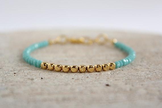 Pulsera Sencilla Mujer Cuentas Oro Azul Turquesa Bisuteria Minimalista Boho Chic