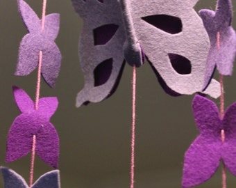 Waldorf Steiner inspired felt butterfly mobile. Nursery decor, room decoration, hanging. Different colours available.