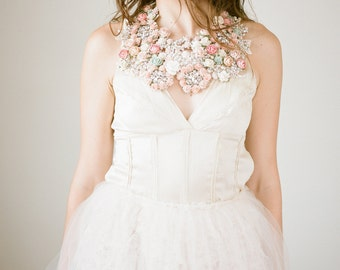 Floral Bridal Crystal Statement Necklace, Bridal Statement Necklace, Bib Necklace
