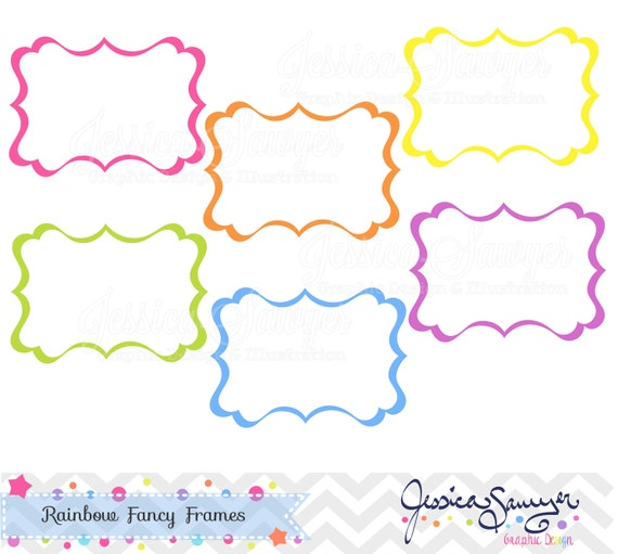 INSTANT DOWNLOAD, rainbow fancy labels, digital frames, for commercial use, personal use