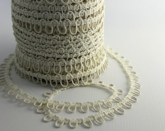 Ivory Elastic Bridal Button Loops