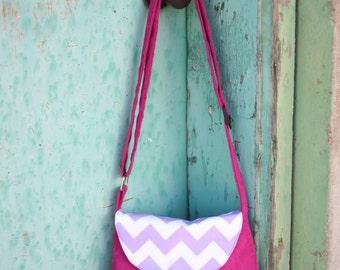 Levander Chevron and Hot pink Suede crossover shoulder bag / purse / over the shoulder bag