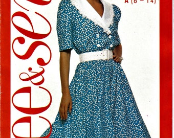 80's Does 50's Mock Double Breasted Flared Dress With Shawl Collar See and Sew Size 6 - 14