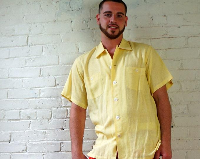 AJ IZOD of London Mens Shirt 1950s Vintage Gauze Designer Shirt Mens LARGE Short Sleeve Beach Shirt Cotton Linen Casual Shirt David Crystal