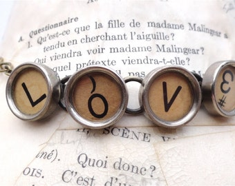 LOVE Necklace Authentic Glass Top Vintage Typewriter Keys Steampunk