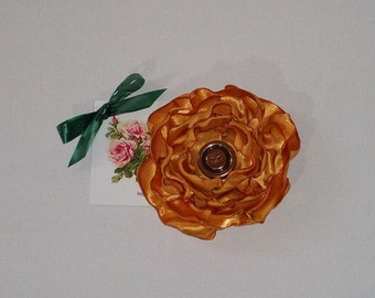Handmade copper / gold satin flower brooch / fascinator with pin & clip limited edition autumn Approx: 3.15 inch / 8 cm across FREE SHIPPING