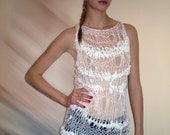 Knitted loose sweater white vest with  satin  cotton ribbons