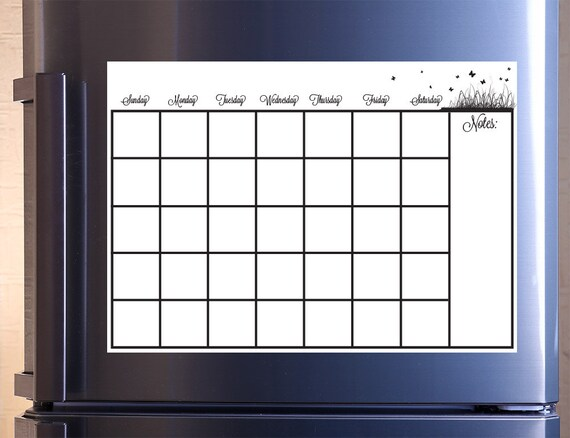 Monthly Calendar Dry Erase Removable Wall Vinyl Kitchen