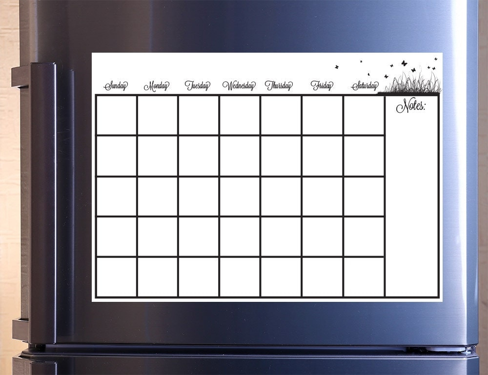 Dry Erase Weekly Calendar : Monthly calendar dry erase removable wall vinyl kitchen