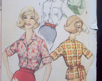 Vintage Simple to Sew Blouse Pattern 1960s Simplicity 4056 Size 14 Bust 34 Cut Pattern