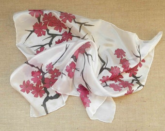 Cherry blossom silk scarf. Hand painted pink flowers scarf. Made to order!