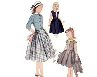 1950s Girls Dress Pattern Simplicity 3505, Triangle Inset Yoke, Peter Pan Collar, Collarless Jacket, 1951 Vintage Sewing Pattern Size 7