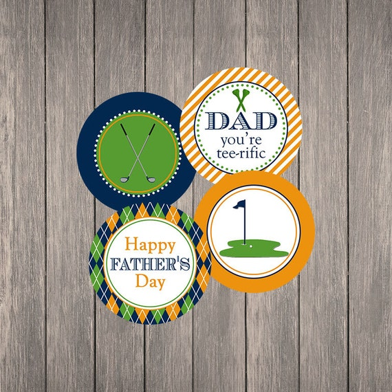 """Father's Day Golf 2"""" Party Circles   Printable   Instant Download   Cupcake Toppers   Tee-riffic"""