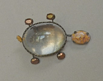 Rare SCHREINER Turtle Pin Brooch Trembler Clear Cabochon COLLECTABLE