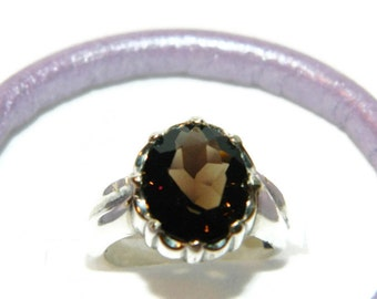 Smoky Quartz Ring, Ring With Big Stone, Low Profile Ring, Middle Finger Ring,