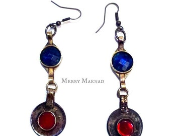 Kuchi red and blue dangle earrings. tribal fusion belly dance jewelry. ethnic jewelry.