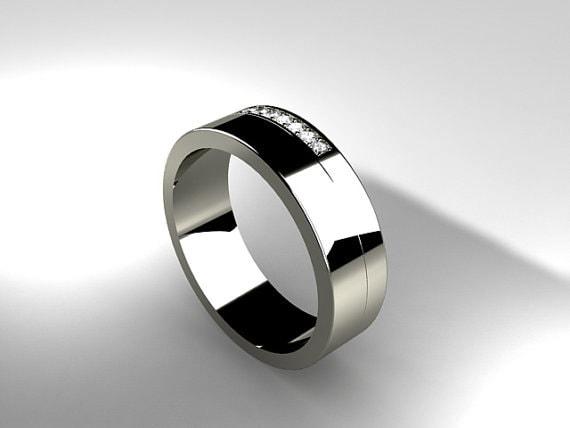 Mens Palladium Ring Diamond Wedding Men Palladium