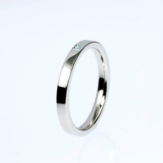 Blue Diamond Wedding Ring White Gold Thin Band