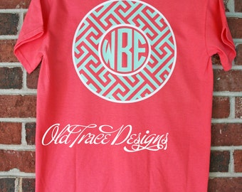 Short or Long Sleeve Monogram Greek Key T Shirt Personalized Custom You choose colors! Great for kids or adults.