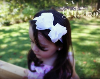 White Satin Bow Headband. Baby Headband. Girl Headband. Toddler Headband. Newborn Headband. Photo Prop.