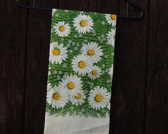 Field of Daisies Linen Tea Towel Vintage 60s Linen Daisy Flowers & Ferns Kay Dee Handprints Lois Long