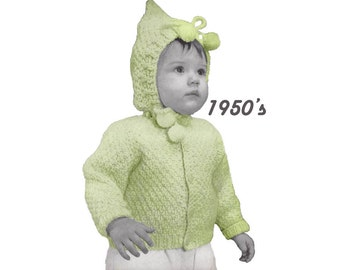 Toddler Moss Stitch Sweater with Hood Knitting Pattern || Vintage 1950's || Reproduction Printed 5938-68