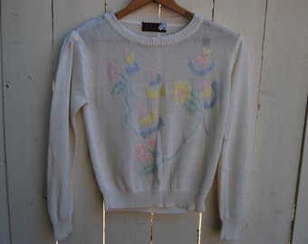 Grandma's Floral Knit Pastel Flower Soft White Sweater