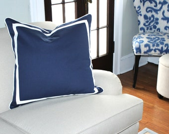 Navy Blue Linen Pillow Cover with White Inset Border and Piping