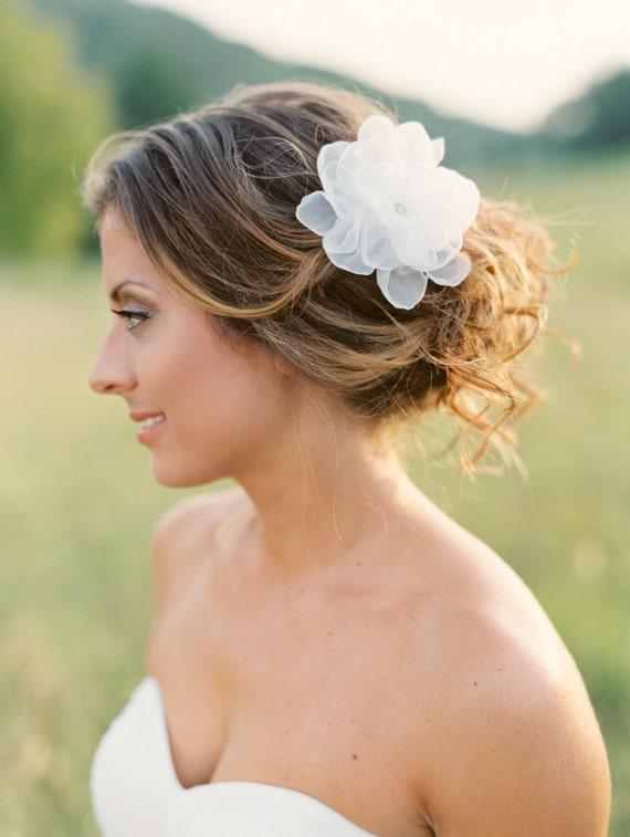 Bridal Silk Flower Clip. Bridal Flower Hair Piece.